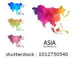 set of polygonal map blank on... | Shutterstock .eps vector #1012750540