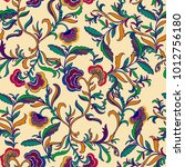 colorful floral seamless vector ... | Shutterstock .eps vector #1012756180