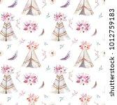 hand drawn watercolor tribal... | Shutterstock . vector #1012759183