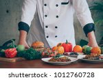 chef and many food cooking  in... | Shutterstock . vector #1012760728