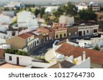 Small photo of view of old europian town, miniature tilt shift lens effect