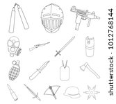 types of weapons outline icons... | Shutterstock . vector #1012768144