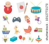children's toy cartoon icons in ... | Shutterstock . vector #1012772173