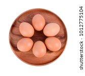 top view of fresh eggs in... | Shutterstock . vector #1012775104