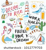 cute doodle collage background | Shutterstock . vector #1012779703