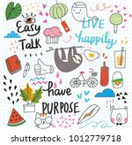 cute doodle collage background | Shutterstock . vector #1012779718