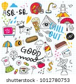 cute doodle collage background | Shutterstock . vector #1012780753