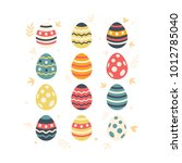happy easter  set of easter... | Shutterstock .eps vector #1012785040
