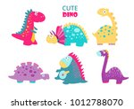 cute vector dinosaurs. set | Shutterstock .eps vector #1012788070