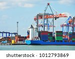 port cargo crane  ship and... | Shutterstock . vector #1012793869