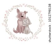 cute dog and cat cartoon couple ... | Shutterstock .eps vector #1012798138