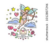 romantic design with cupid for...   Shutterstock .eps vector #1012807246