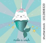 fun magic cat unicorn and... | Shutterstock .eps vector #1012808320