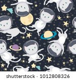 Stock vector fun cat astronaut in space seamless pattern vector cartoon charters editable vector illustration 1012808326