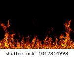 fire flames on black background. | Shutterstock . vector #1012814998