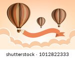 hot air balloon with ribbon in... | Shutterstock .eps vector #1012822333