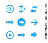 arrows vector set  blue on white | Shutterstock .eps vector #1012822726