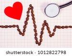 electrocardiogram line made of... | Shutterstock . vector #1012822798