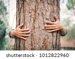 man hug big tree color of...   Shutterstock . vector #1012822960