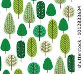 spring forest seamless pattern | Shutterstock .eps vector #1012833634