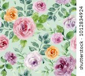 watercolor floral seamless... | Shutterstock . vector #1012834924