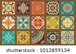 collection of 15 colorful tile...   Shutterstock .eps vector #1012859134