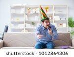 funny man singing songs in... | Shutterstock . vector #1012864306