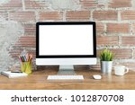 workspace with computer with... | Shutterstock . vector #1012870708