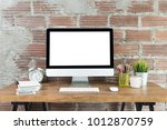workspace with computer with... | Shutterstock . vector #1012870759