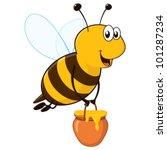 Vector Happy Cartoon Bee Flyin...