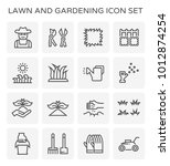 lawn and gardening vector ico...   Shutterstock .eps vector #1012874254