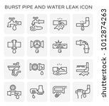 burst pipe and water leak icon... | Shutterstock .eps vector #1012874263