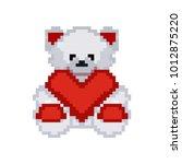 pixel bear with heart  st.... | Shutterstock .eps vector #1012875220