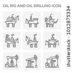 oil rig and oil drilling icon... | Shutterstock .eps vector #1012875334