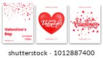 valentines day. set of posters... | Shutterstock .eps vector #1012887400