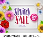 spring sale vector banner with... | Shutterstock .eps vector #1012891678