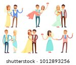 happy newlywed couples composed ... | Shutterstock .eps vector #1012893256