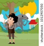 peter and the wolf tale... | Shutterstock .eps vector #1012907050