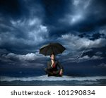 Businessman On A Raft In The...