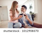beautiful young couple with... | Shutterstock . vector #1012908370
