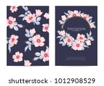 wedding invitation with wild... | Shutterstock .eps vector #1012908529