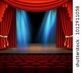 stage with red curtain. and... | Shutterstock .eps vector #1012911058