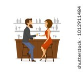 couple  man and woman on a date ... | Shutterstock .eps vector #1012911484