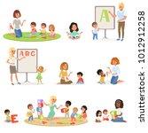 set of children doing speech...   Shutterstock .eps vector #1012912258