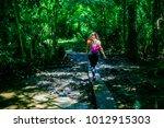 Woman Crossing Small River Ove...