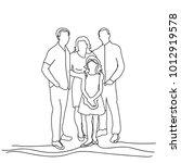 sketch family on white... | Shutterstock .eps vector #1012919578