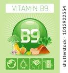folic acid vitamin b9 rich food ... | Shutterstock .eps vector #1012922554