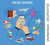 vacation and tourism concept...   Shutterstock .eps vector #1012924723