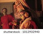 kathakali artist green room in...   Shutterstock . vector #1012932940