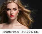 beautiful female with long... | Shutterstock . vector #1012947133